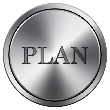Plan icon. Metallic internet button on white background.  photo