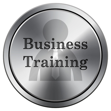 idea hurdle: Business training icon. Metallic internet button on white background.  Stock Photo