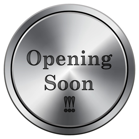 Opening soon icon. Metallic internet button on white background.  photo