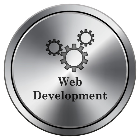 Web development icon. Metallic internet button on white background.  photo