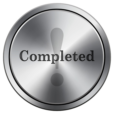 reviewed: Completed icon. Metallic internet button on white background.