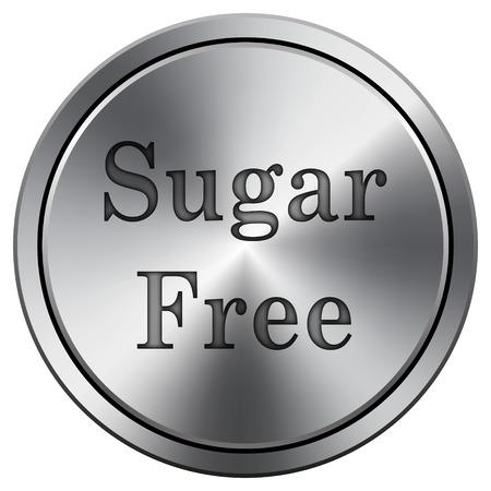 Sugar free icon. Metallic internet button on white background.  photo