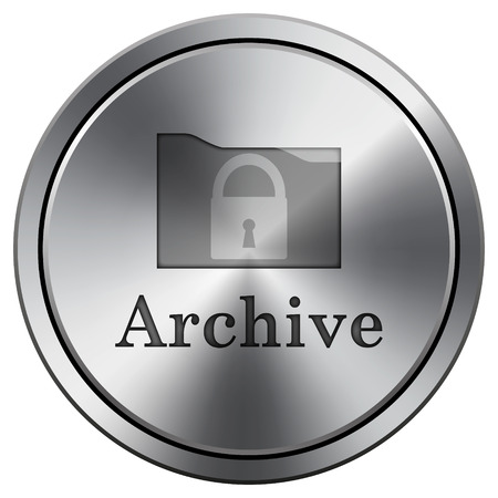 Archive icon. Metallic internet button on white background.  photo