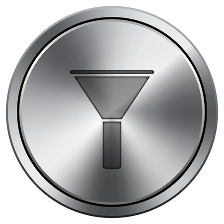 Filter icon. Metallic internet button on white background.  photo