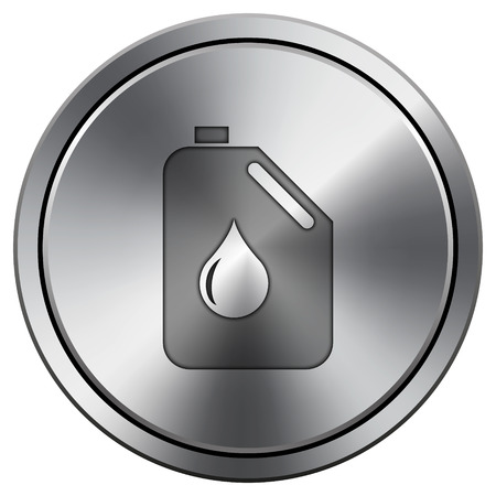 Oil can icon. Metallic internet button on white background.  photo