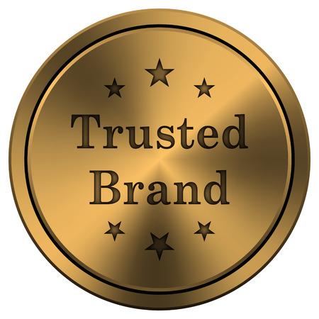 trusted: Copper metallic internet icon on white background. Stock Photo