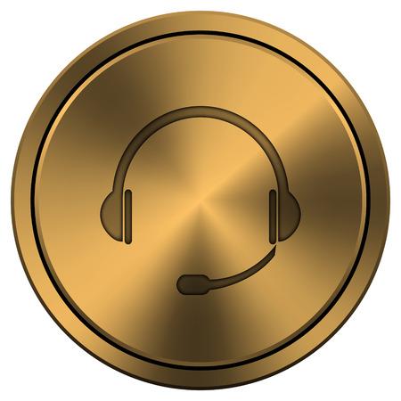 Copper metallic internet icon on white background. photo
