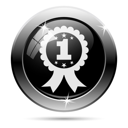 First prize ribbon icon. Metallic internet button on white background.  photo