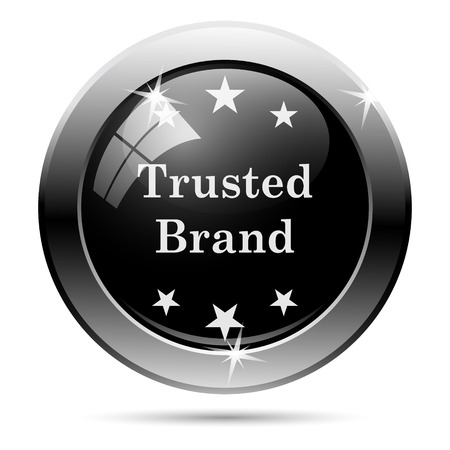 trusted: Trusted brand icon. Metallic internet button on white background.