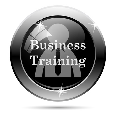 Business training icon. Metallic internet button on white background.  photo