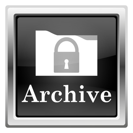 archiving: Black shiny glossy icon on white background