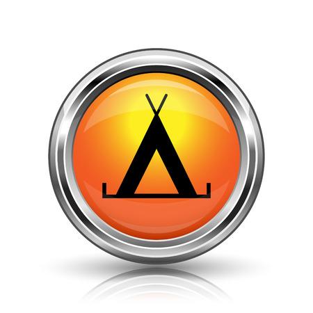 3d bungalow: Orange shiny glossy icon on white background