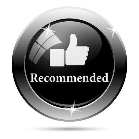 recommendations: Recommended icon. Metallic internet button on white background.
