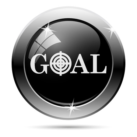 Goal icon. Metallic internet button on white background.  photo
