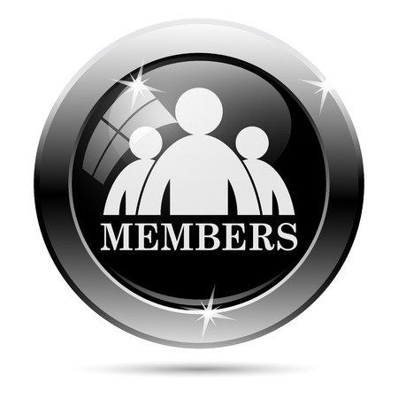 only members: Members icon. Metallic internet button on white background.
