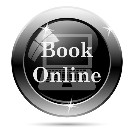 Book online icon. Metallic internet button on white background.  photo