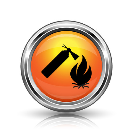 firealarm: Orange shiny glossy icon on white background