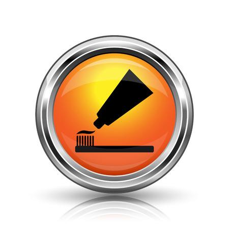 fluoride toothpaste: Orange shiny glossy icon on white background
