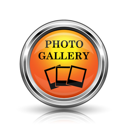 Orange shiny glossy icon on white background photo