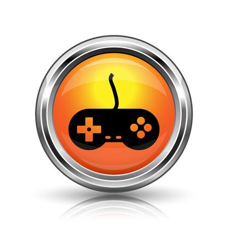 joypad: Orange shiny glossy icon on white background