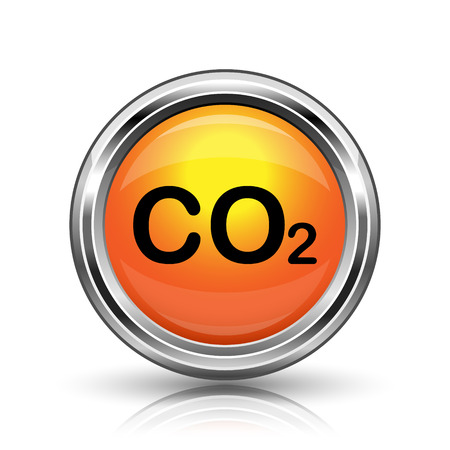 danger carbon dioxide  co2  labels: Orange shiny glossy icon on white background