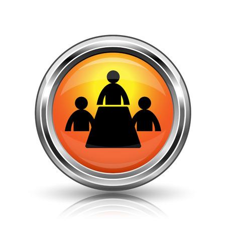 push room: Orange shiny glossy icon on white background