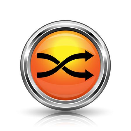 shuffle: Orange shiny glossy icon on white background