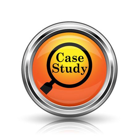 case studies: Orange shiny glossy icon on white background