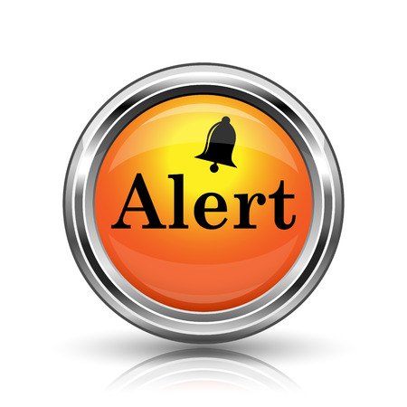alert ribbon: Orange shiny glossy icon on white background