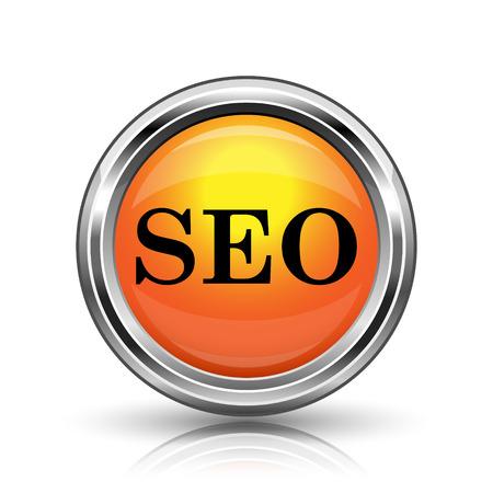 Orange shiny glossy icon on white background photo