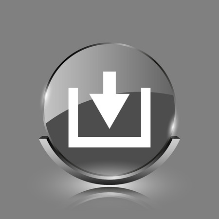 Download icon. Shiny glossy internet button on grey background.  photo