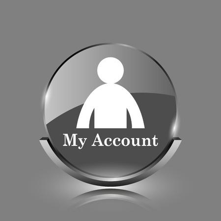 My account icon. Shiny glossy internet button on grey background.  photo