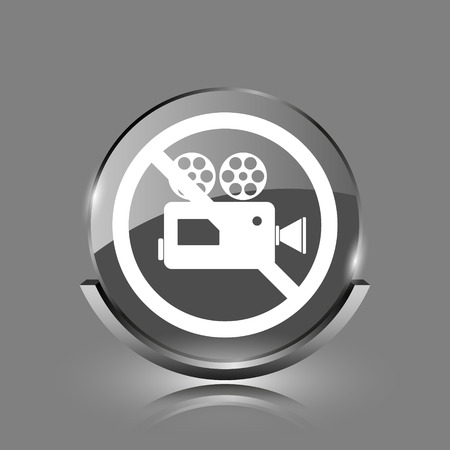 Forbidden video camera icon. Shiny glossy internet button on grey background.  photo