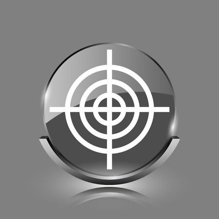 Target icon. Shiny glossy internet button on grey background.  photo