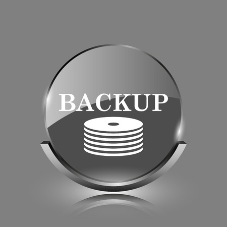 Back-up icon. Shiny glossy internet button on grey background.  photo