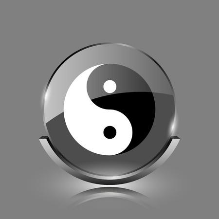 Ying yang icon. Shiny glossy internet button on grey background.  photo