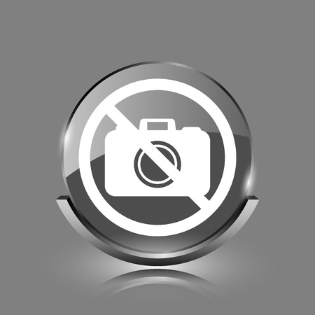 Forbidden camera icon. Shiny glossy internet button on grey background.  photo