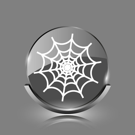 spider web icon: Spider web icon. Shiny glossy internet button on grey background.  Stock Photo