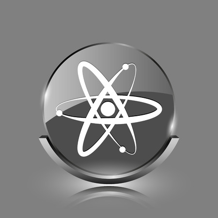 Atoms icon. Shiny glossy internet button on grey background.  photo