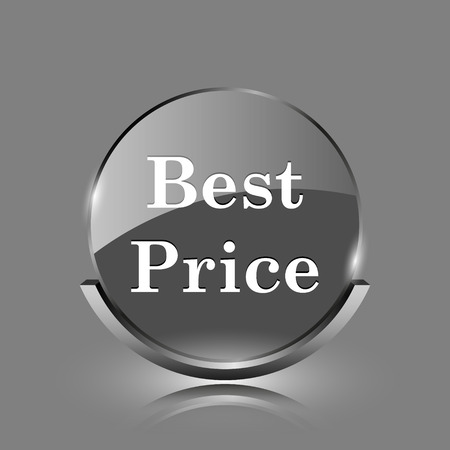 Best price icon. Shiny glossy internet button on grey background.  photo