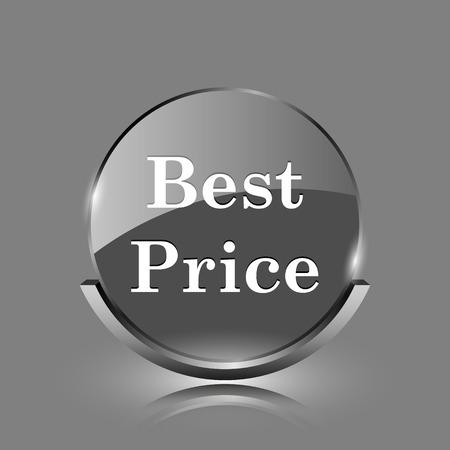 Best price icon. Shiny glossy internet button on grey background.  photo