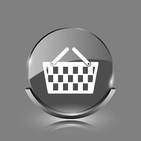 Shopping basket icon. Shiny glossy internet button on grey background.  photo
