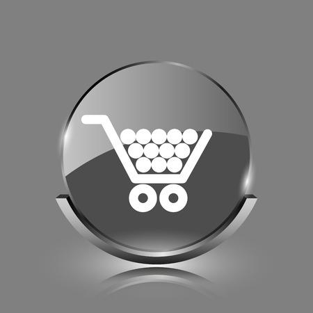 Shopping cart icon. Shiny glossy internet button on grey background.  photo
