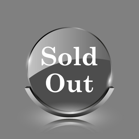 Sold out icon. Shiny glossy internet button on grey background.  photo