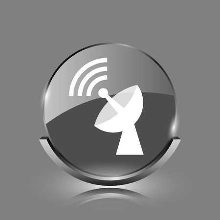 Wireless antenna icon. Shiny glossy internet button on grey background.  photo