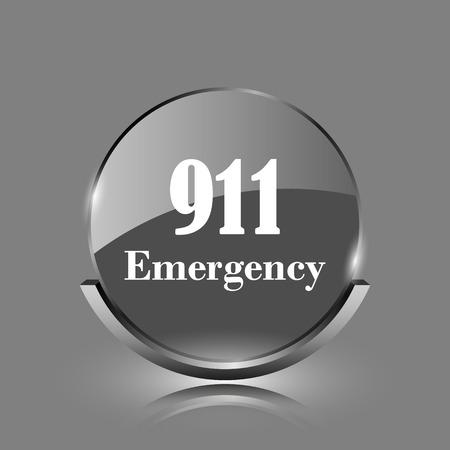 911 Emergency icon. Shiny glossy internet button on grey background.  photo