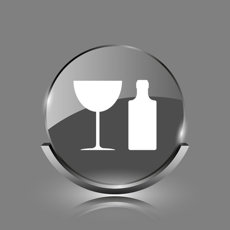 Bottle and glass icon. Shiny glossy internet button on grey background.  photo
