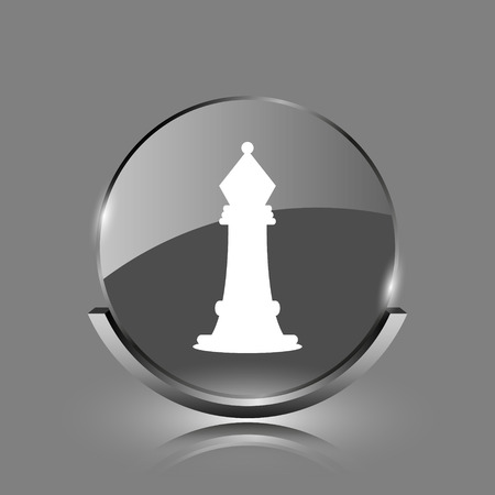 Chess icon. Shiny glossy internet button on grey background.  photo