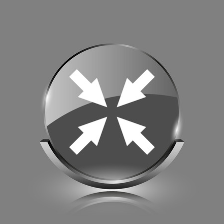 Exit full screen icon. Shiny glossy internet button on grey background.  photo