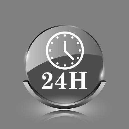 24H clock icon. Shiny glossy internet button on grey background.  photo